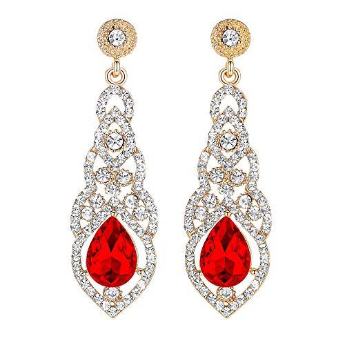 mecresh Austrian Crystal Rhinestone Bridal Wedding Dangle Earrings for Women in Silver Gold Black Champagne Blue (F-red) (Fred Jewelry)