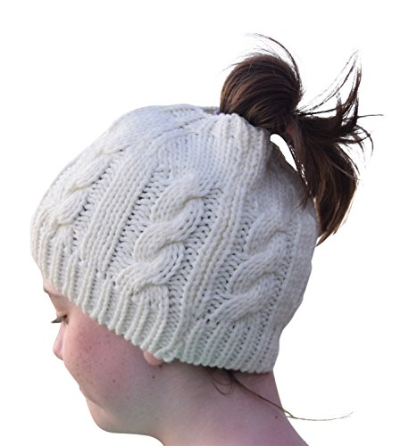 - Womens Crochet Messy Bun Beanie Slouchy Style with Hole for Ponytail Hat Perfect Work Out Hat or Running or Bad Hair Day (Ivory)