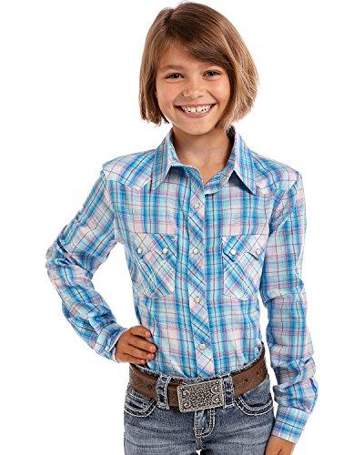 Panhandle Girls' Turquoise Plaid Lurex Long Sleeve Snap Shirt Turquoise (Panhandle Western Shirts)