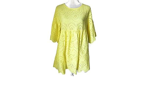 EveLove Vestido Color Amarillo Perforado, Falda con Vuelo: Amazon ...