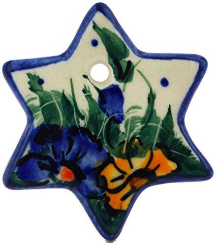 (Polish Pottery Christmas Ornament Star 2-inch (Spring Bouquet Theme) UNIKAT)