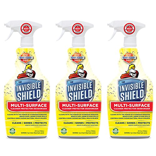 Invisible Shield Multi - Surface Cleaner, Deodorizer & Protector- 25 oz- 3 Pack by Clean-X Invisible -