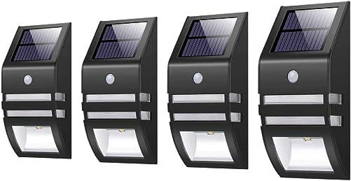 MEIHONG Solar Outdoor Lights, Solar Motion Sensor Lights, Solar Powered LED Accent Lights, Solar Powered Security Lights for Front Door Patio Deck Yard Garden Fence Porch Black 4 Pack
