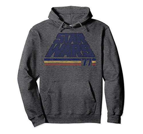 Unisex Star Wars Classic Retro Slanted Logo Striped '77 Hoodie Medium Dark Heather