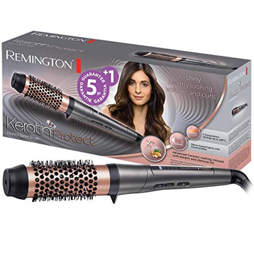 Remington Keratin Protect CB8338, Cepillo con Barril Térmico de 38 mm, Cerámica Avanzada con Queratina y Aceite de Almendras, hasta 180º C, Pantalla Digital