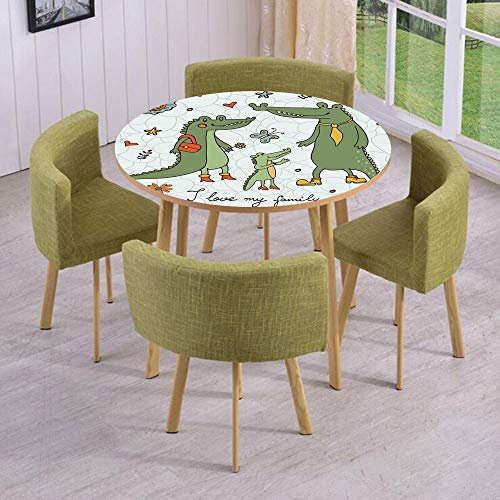 iPrint Round Table/Wall/Floor Decal Strikers/Removable/I Love My Family Theme Cute Hand Drawn Alligators Natural Background Fun Graphic/for Living Room/Kitchens/Office Decoration ()