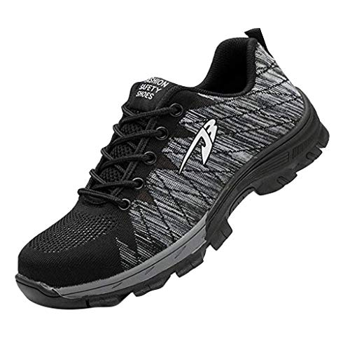 ◕‿◕Watere◕‿◕ Men's Sneakers,Lightweight Running Shoes Men Breathable Lace-up Fashion Antiskid Walking Sneakers Work Shoes Gray