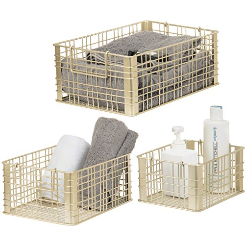 Set of 3 Metal Wire Nesting Storage Baskets with Handles/Gold Tone Decorative Boxes for -