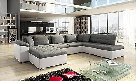 Grande divano angolare XXL, Alia, moderno e design in tessuto e similpelle,  grigio