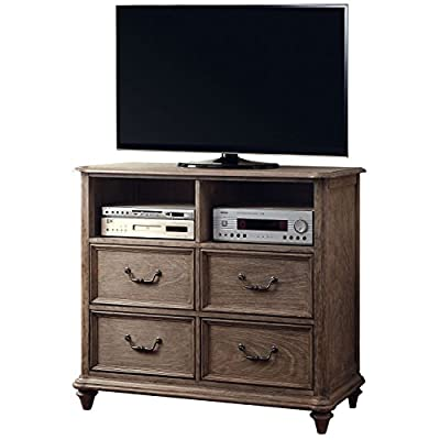 Venetian Worldwide The Althea Media Stand - Transitional Style Rustic Natural Tone Finish Solid Wood, Wood Veneer &Others - tv-stands, living-room-furniture, living-room - 51UV7SJUxlL. SS400  -
