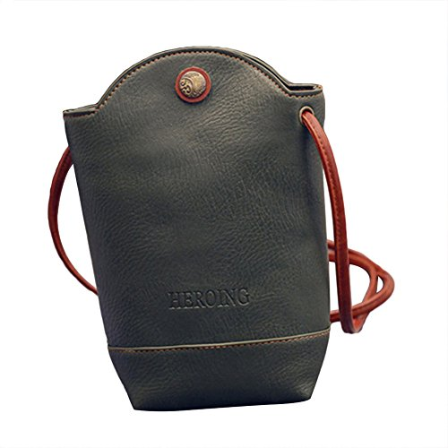 Fashion Women's Mini Faux Leather Cross Body Bag Purse Bucket Phone Bag Gift Army Green