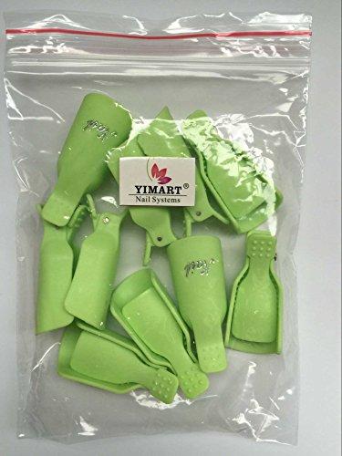 Yimart® 10pc Plastic Acrylic Nail Art Soak Off Cap Clip Uv Gel Polish Remover Wrap Cleaner Clip Cap Tool (Green)