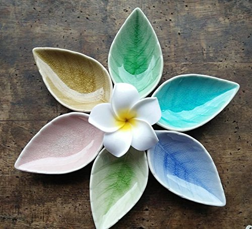 Astra Gourmet Set of 6 Multipurpose Mini Ceramic Seasoning Dishes/Appetizer Plates/ Multicolor Leaf Shape Porcelain Saucers Dipping Bowls Set for Vinegar/Soy Sauce/Wasabi