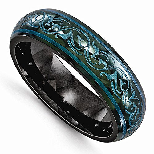 Edward Mirell Black Titanium Teal Color Anodized 6mm Wedding Band - Size 7 by Edward Mirell