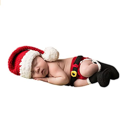 d74e2fd97bf Amazon.com  SUNBABY Newborn Baby Christmas Santa Knitted Crochet Photo  Photography Prop Lovely Hats Costume Outfits (Boy Pants Suit)  Clothing