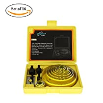 ValueHall 18 PCS Carbon Steel Hole Saw Kit for Wood, Plasterboard, Plastic and Thin PVC Cutter SetV7041-6