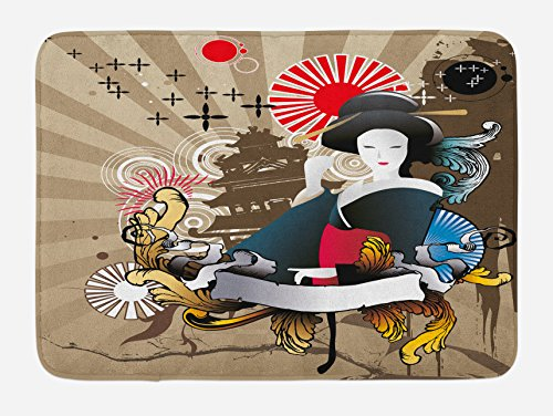 (Lunarable Modern Bath Mat, Japanese Art with Traditional Geisha Woman Style Cultural Graphic Art Print, Plush Bathroom Decor Mat with Non Slip Backing, 29.5 W X 17.5 L Inches, Beige Red)