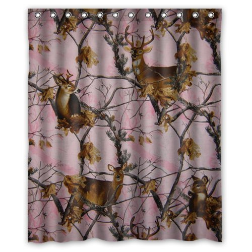 Pink Camo Realtree Trees Camouflage Hunting Deers Reindeer Elk Cool Personalized Custom Polyester Bathroom Decor Shower