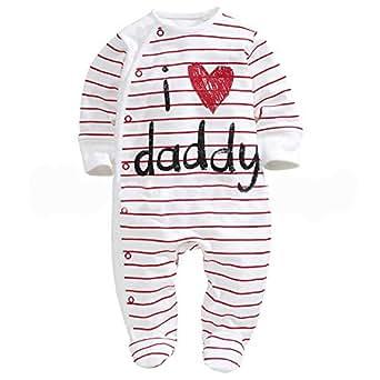 """Unisex manga larga traje de """"I Love Daddy Pelele Pajama Footies con rayas Patrón"""