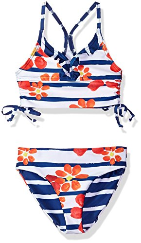 Jantzen Big Girls' Little Neo Nautical Floral Cinched Bikini, Floral Stripe, 10 by Jantzen (Image #1)