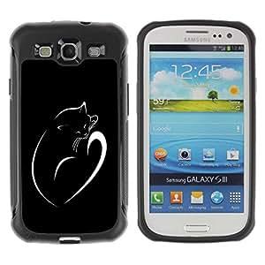 Planetar® ( Minimalist Cat Kitten Black White ) Samsung Galaxy S3 III / i9300 i717 Hybrid Heavy Duty Shockproof TPU Fundas Cover Cubre Case