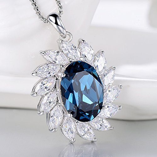 Little Bili Fashion Bijoux plaqué or blanc ovale bleu saphir cristal autrichien zircon Surround femmes Collier
