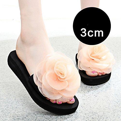 Slippers HAIZHEN Women shoes 3cm/7cm Female Summer Thick Bottom Women Cool New Fashion Beach Shoes(Blue/Black/Orange/Purple) for Women (Color : 3CM-Orange, Size : EU36/UK3.5/CN35) 3cm-orange