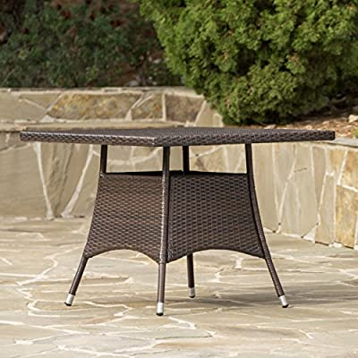 Christopher Knight Home Tybee Multi Brown PE Square Dining Table - For the perfect stylish outdoor Dining Table, look no further than the Christopher Knight Home corsica Dining Table Manufactured in China Assembly required but completely worth it - patio-tables, patio-furniture, patio - 51UV8cu3wSL. SS400  -