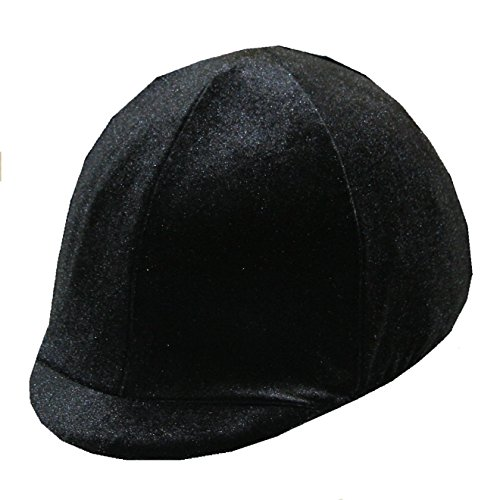 Equestrian Riding Helmet Cover - Black Velvet - NO BOW