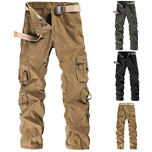 Pervobs Pantalones Cortos Mens Casual Cargo Pants Workout Fashion Solid Zipper Pants Trousers with Multi-Pocket