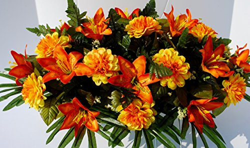 Fall Cemetery Flowers with Orange Iris and Dahlias for Grave Decoration