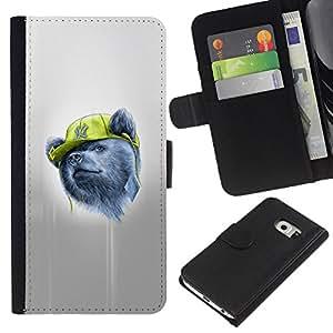 JackGot ( Gangsta Oso ) Samsung Galaxy S6 EDGE (NOT S6) la tarjeta de Crédito Slots PU Funda de cuero Monedero caso cubierta de piel