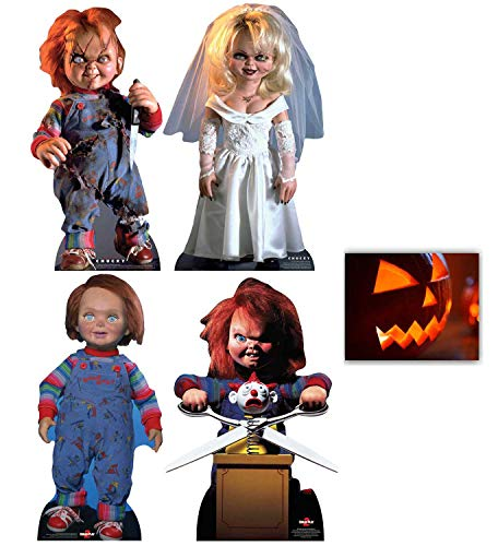 BundleZ-4-FanZ Fan Packs Chucky Collection Official Cardboard Cutout Set of 4 Includes Scarred Chucky, Tiffany, Good Guy Chucky & Chucky with Jack in The Box with 8x10 Photo -