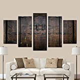 InterestPrint Rustic Antique Wooden Door 5 Pieces Home Decor Wall Art Paintings for Modern Living Room (No Frame)