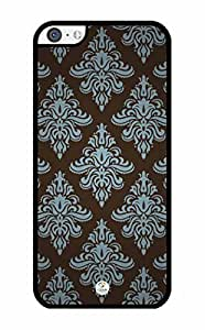 MMZ DIY PHONE CASEiZERCASE Damask Pattern Simple iphone 5c RUBBER case - Fits iphone 5c T-Mobile, AT&T, Sprint, Verizon and International