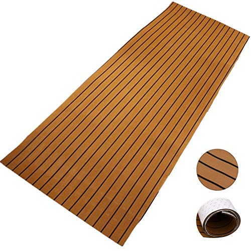 Happybuy Boat Decking Sheet 94.5 X 47 Inch 6MM Thick Non-Skid EVA Foam Faux Teak Decking Self-Adhesive Marine Yacht RV Swimming Pool Garden Boat Flooring Sheet ((Brown with Black Seam, 94.5