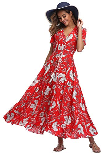 VintageClothing Women's Floral Print Maxi Dresses Boho Button Up Split Beach Party Dress, XL