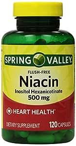 Spring Valley - Flush Free Niacin (B-3) 500 mg, 240 Capsules (2 Bottles of 120)
