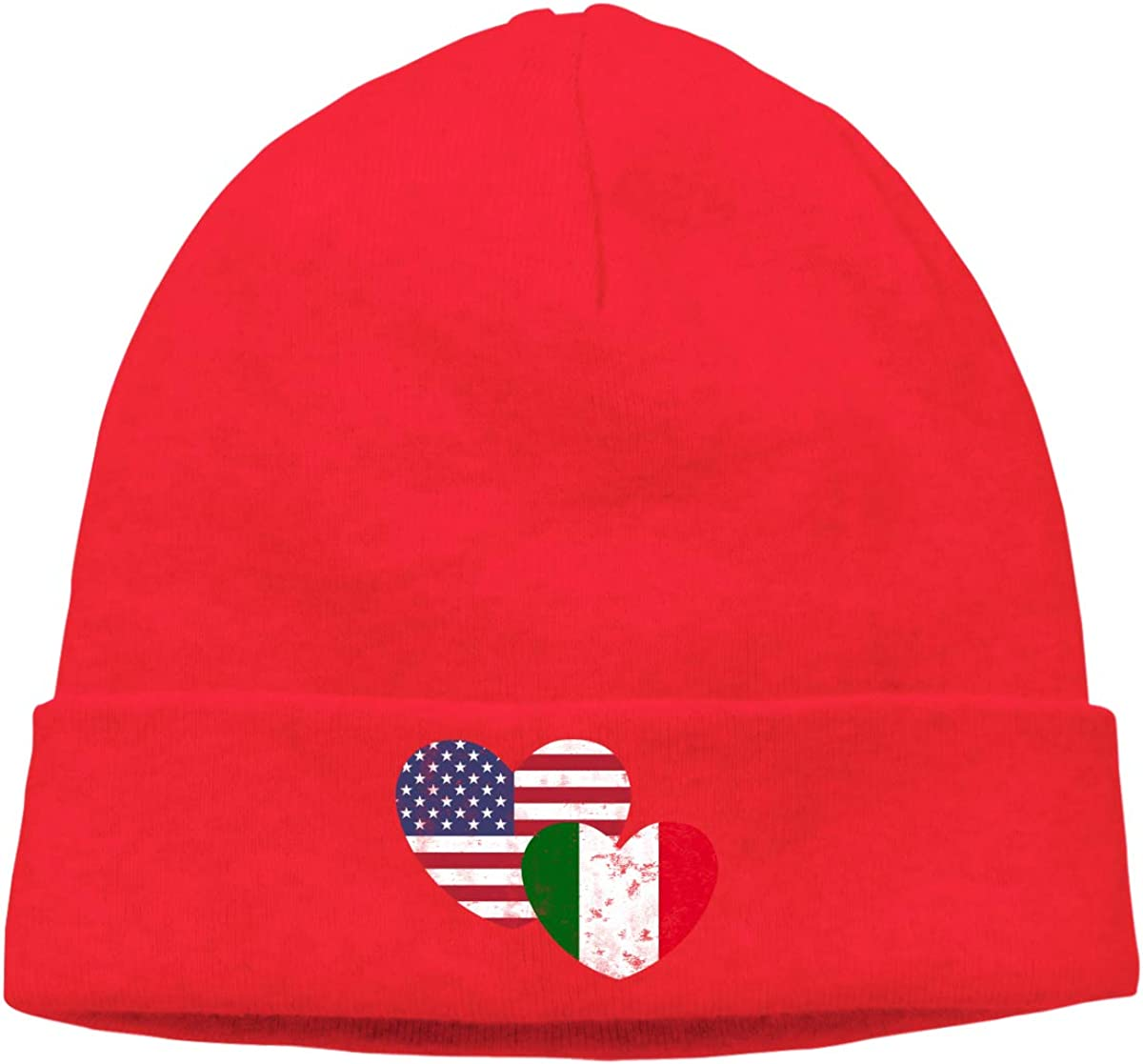 Warm Knitting Hat for Mens and Womens Italian American Flag Love Beanie Hat