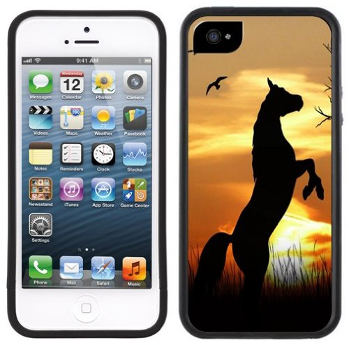 Sonnenuntergang Pferd   Handgefertigt   iPhone 5 5s   Schwarze Hülle
