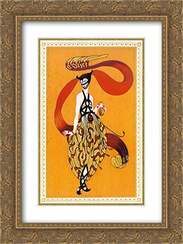 Erte 2x Matted 18x24 Gold Ornate Framed Art Print 'Sheerazade 7' 7' Matted Print