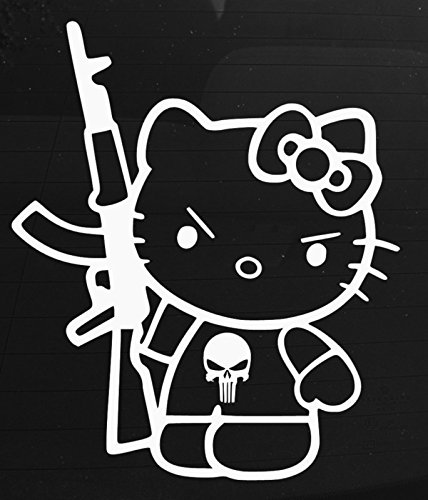 Hello Kitty Punisher Decal Vinyl Sticker|Cars Trucks Vans Walls Laptop|WHITE|5.75 in|CCI385