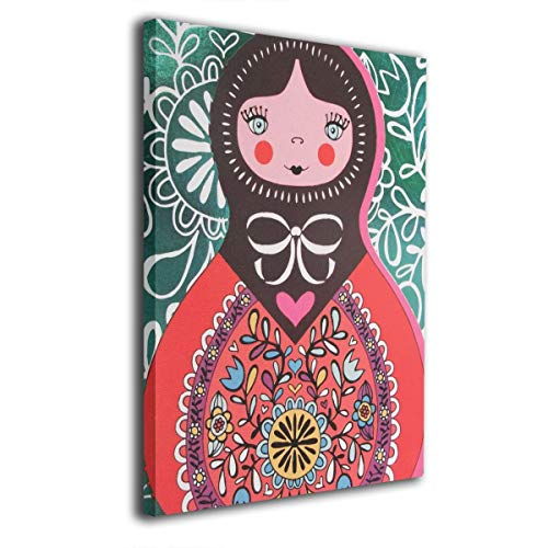 customgogo Russian Matryoshka Doll Pattern Art Hand Painted Paintings Abstract Canvas Wall Art Modern Style for Living Room,Dinning Room Home Decor Without Framed Stretched Ready to Hang ()