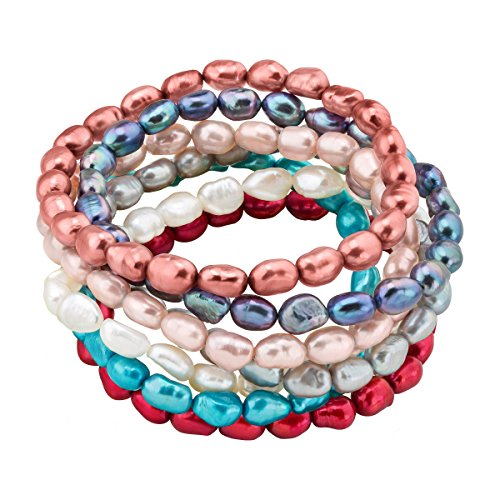 Honora Set of 7 Multi-Color Baroque Freshwater Cultured Pearl Stretch Bracelets