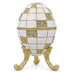 Carr's Blanc Inspired Russian Egg - Enameled Jewelry Trinket Box Figurine