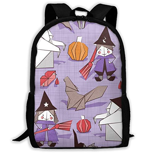 Backpack Hiking Daypack Halloween Origami Tricks Violet Linen Texture Background Paper and Cardboard Geometric Witches Cats Ghosts Spiders Wolfs Bats Dracula Lips and Pumpkins_469 Travel Backpack -
