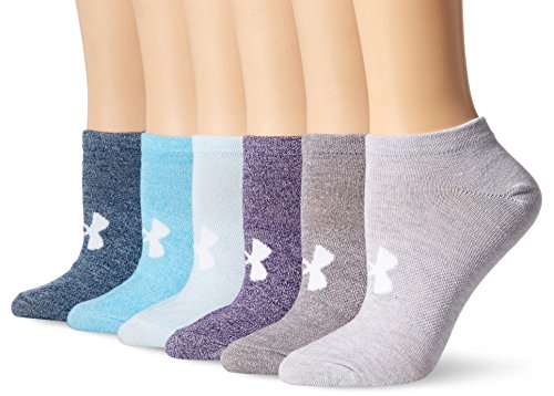 Under Armour Womens Essential No Show Socks (6 Pack), Purple Heather/Assorted, Medium