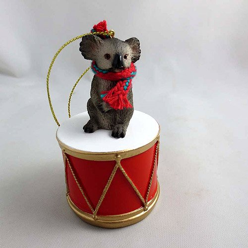 Little Drummer Koala Christmas Ornament - Hand Painted - Delightful