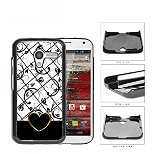 Black White Floral Pattern With Gold Outline Hard Plastic Snap On Cell Phone Case Motorola Moto X