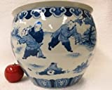 Children Playing Blue and White Porcelain Fishbowl 12''
